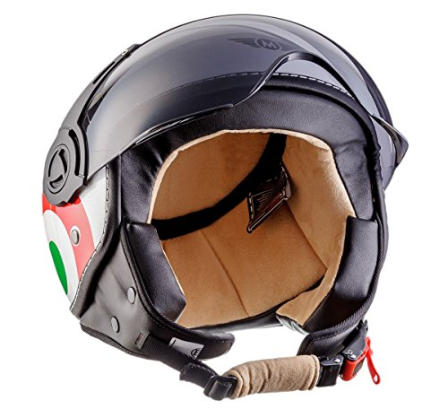 Moto Helmets H44 Italy · Retro Roller-Helm Vintage Mofa Jet-Helm Pilot Chopper Vespa-Helm Moto Helmetsrrad-Helm Scooter-Helm Biker Bobber Cruiser Helmet · ECE zertifiziert · inkl. Sonnenvisier · inkl. Stofftragetasche · Weiß · S (55-56cm) - 3