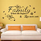 """Family ,where life begins & love never ends.""English Proverbs Wall Stickers Decor Living Room Wall Stickers"