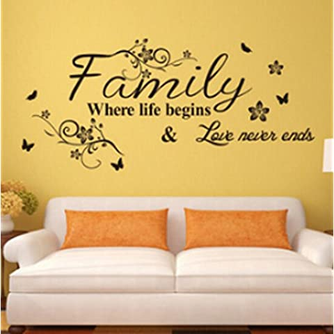 Family ,where life begins & love never ends.English Proverbs Wall Stickers Decor Living Room Wall Stickers by Liroyal