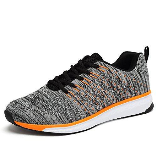 SGoodshoes Chaussures de courses Empeigne en mesh respirante et légère pour Homme Gris