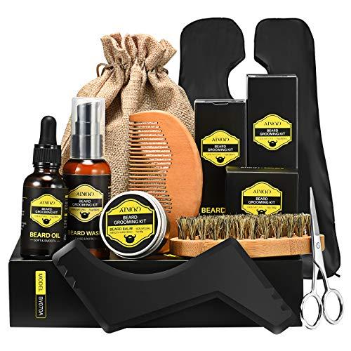 Kit de Soins Barbe Homme 9Pcs ATMOKO, Coffret Barbe, shampoing barbe, Huile à barbe...