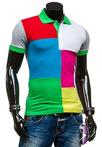 BOLF Herren T-Shirt Kurzarm Poloshirt Polohemd Shirt Men Classic Motiv Figurbetont LT 4037 Grün