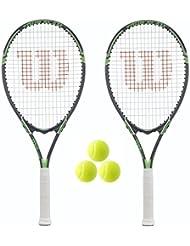 2 x Wilson Tour Tennisschläger + Briefe mit Bügel + 3 Tennisbälle