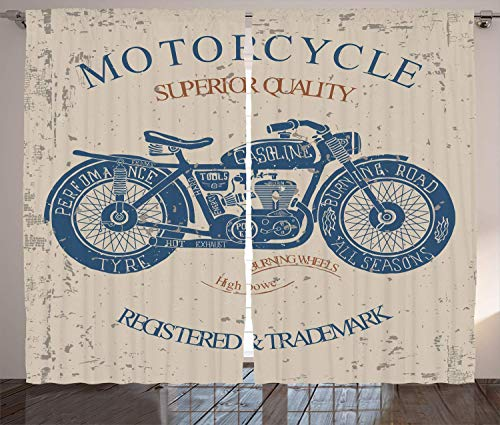 Vintage Curtains, Retro Style Bike Grunge Background Classic Wheels Chopper Rider Illustration, Living Room Bedroom Window Drapes 2 Panel Set,Blue Tan 110x95 in Tan Popper