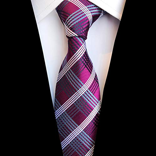 LLTYTE Fashion Plaid Tie Silk Jacquard Woven Wedding Tie for Men Striped Gradient Blue Red Green Necktie Suit Party Ties Woven 3 Mens Tie