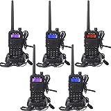 Retevis RT5 Funkgeräte Set 128 Kanäle UHF/VHF 2m/70cm 134-174/400-480MHz Dualband Dual Frequenz Dual Standby VOX FM Radio CTCSS/DCS 1400mAh Amateurfunk Funkgerät mit Taschenlampe(5 STK, Schwarz)