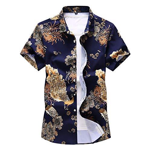 LHXWY Kurzarm-Hawaii-Hemd Bunte Große Blumen-Sommer-Modisches T-Shirt Partei-3D Druck-Phantasie Pfau XL (Pfau Kostüm Männlich)