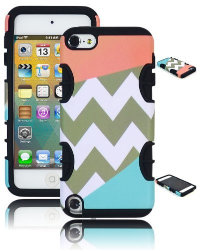 Bastex Heavy Duty Hybrid Case für Apple iPod Touch 5, - Schwarz Silikon mit Tri Split Coral Pink und Sky Blau Armor mit Chevron Design Hard Shell Cover