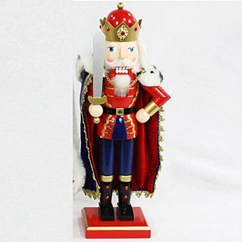 Dekohelden24 Hochwertiger Nussknacker als König mit Pelzumhang, ca. 38,5 cm