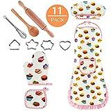 Ensemble de cuisine complet pour enfants avec tablier chapeau de chef, gants et couverts pour petites filles 11 pièces