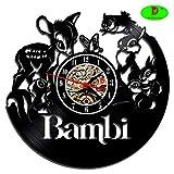 Meet Beauty Ding Niedliche Bambi-Wanduhr, kreatives Vinyl-Platten-Design, dekorieren Sie Ihr Zuhause...