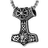 iMECTALII Herren Hammer Edelstahl Vintage Thors Irische Keltische Knoten Halskette Anhänger mit Kreuz Löwenkopf, 75CM Weizen-Kette