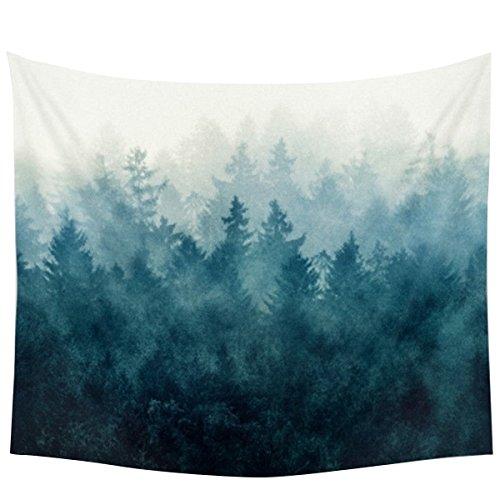Jeteven Hippie-Tapisserie Mandala Wandteppich Blau forest Tuch, indisch Elephant Wandbehang Wald, Wall Tapestry Boho Yoga Strandtuch Picnic Throw, Wand Deko 150X130cm (A)