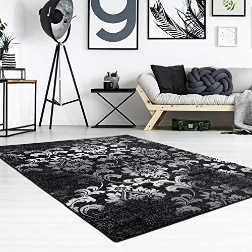 carpet city Teppich Flachflor Inspiration mit Floralen Muster, Ornamente in Schwarz, Weiß für Wohnzimmer, Größe: 200x290 cm -