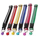 Skitic 6er Set Reflektierendes Katzenhalsband mit Glöckchen für Katzen Oder Kleine Hunde, Sicherheits-Schnellverschluss für Schnelles Öffnen