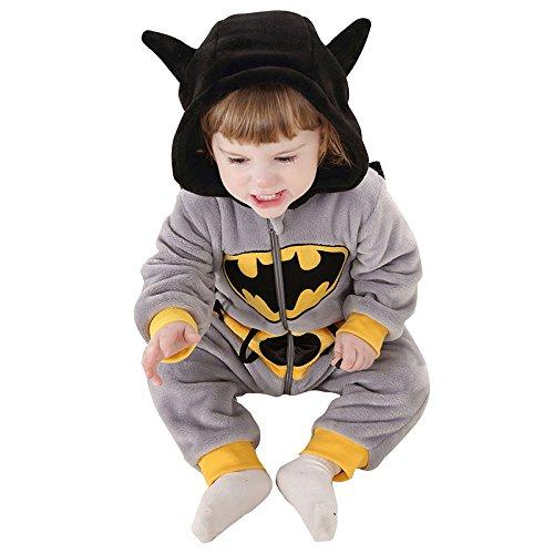 Weiche Bathmans Pyjamas Kigurumi Unisex Baby Cosplay Onesie Kostüm Strampler (XXL (24 - 36 Monate (110 cm)) (Halloween Kostüme Für Babys 18 24 Monate Uk)