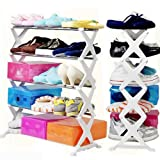 #10: Cpixen Stainless Steel Folding Portable 5 Layer Shoe Rack Organizer Footwear