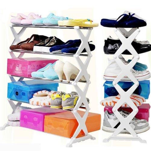 Cpixen Stainless Steel Folding Portable 5 Layer Shoe Rack Organizer Footwear