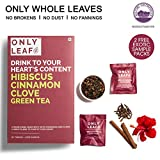 #8: Onlyleaf Hibiscus Cinnamon Clove Green Tea, 52 Tea Bags with 2 Free Exotic Samples