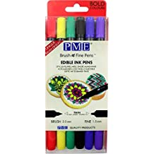 6 x PME Bold Colours Brush n Fine Edible Ink Pen Colouring Cake Decorations