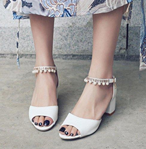 Fischkopf High Heels Sandalen Frauen Sommer Sandalen dick mit Perlen White