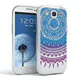 EAZY CASE GmbH Hülle für Samsung Galaxy S3 / S3 Neo Schutzhülle Silikon Mandala Design, Slimcover Henna, Handyhülle, TPU Hülle / Soft Case, Silikonhülle, Backcover, indische Sonne, transparent, Blau/Pink