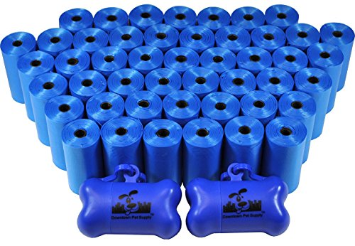 Downtown Pet Supply Perro Bolsos Inútiles Para Mascotas Con Correa Dos Clips Y Dispensadores, 1000 Bolsas, Azul