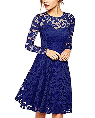 ZANZEA Damen Spitze Lace Party Cocktail Bodycon Club Lang Abend Minikleider Langarm Blau EU 42/US 10 -
