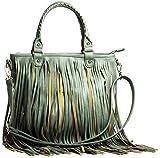 Big Handbag Shopborsa a tracolla in ecopelle con frange lunghe , verde