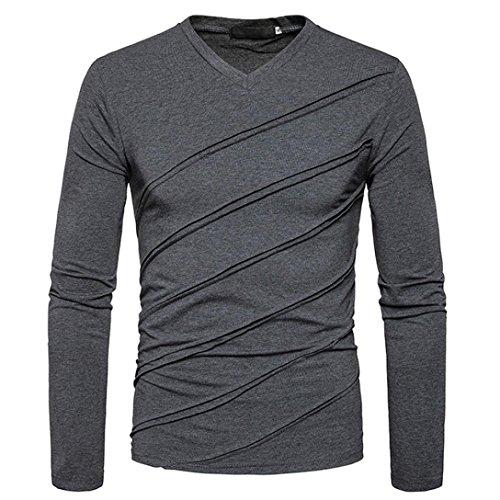 ❤️Automne Hiver T-Shirt Manches Longues Tops Solides Chemisier ruché Fold, Amlaiworld Veste Homme Sweatshirt Blouson❤️ (L, Gris foncé)
