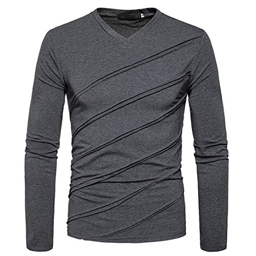 Automne-hiver-T-shirt-manches-longues-Tops-solides-Chemisier-ruch-Fold-Amlaiworld-Veste-Homme-Sweatshirt-Blouson