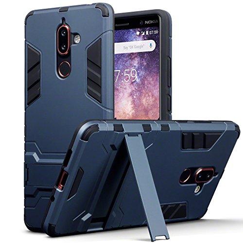 TERRAPIN, Kompatibel mit Nokia 7 Plus Hülle, Silikon + Polycarbonat Tasche mit Standfunktion - Dunkelblau