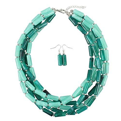 Yzibei Schön Handgemachte Perle Multilayer Statement Halskette Armband Ohrringe Schmuck-Set (Farbe : Grün)