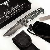 Bullhead® Taschenmesser 3-in-1 Klappmesser Set - Extra scharfes Einhandmesser mit hochwertiger Titaniumklinge - inkl. Diamantschleifstahl, Gürteltasche & Schutzbeutel Outdoormesser I Rettungsmesser