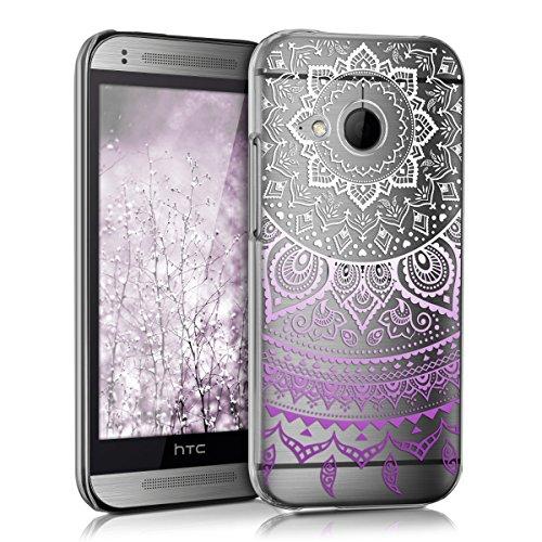 kwmobile Crystal Case Hülle für HTC One Mini 2 mit Indische Sonne Design - transparente Schutzhülle Cover klar in Violett Weiß Transparent