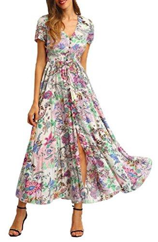 Brinny Damen Kleid Vintage Print VAusschnitt Boho Schlitz Kleid Maxi Kleid  Strandkleid Dress mit Knopfleiste Grün