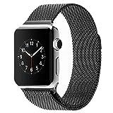 Générique 42MM Negro clásico milanaise boucle Bracelet en acier inoxydable Bracelet aimant puissant verrou Smart bande Watch remplacement pour Apple Suivre l'iWatch argent