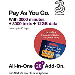 Three UK All-in-one 20+ PAYG Trio SIM Card -3000 minutes, 3000 texts + 12GB data + FREE International Calling Card - (Love2surf RETAIL PACK)