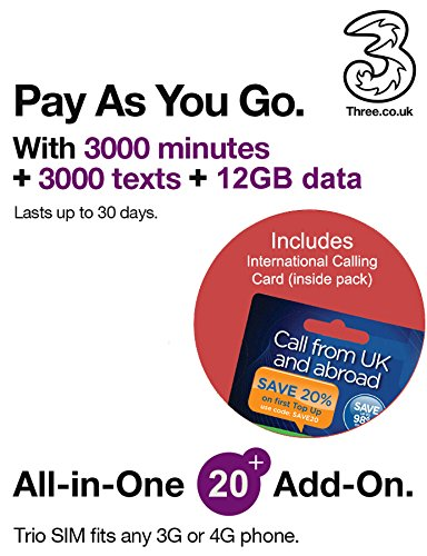Three UK All-in-one 20+ PAYG Trio SIM Card -3000 Minutes, 3000 Texts + 12GB Data + Free International Calling Card - (Love2surf Retail Pack) Pay As You Go-handys
