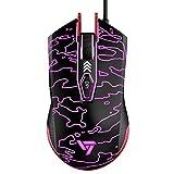 Gaming Maus, VicTsing programmierbare wired Gaming Mouse,1000Hz hochpräzise optische Mäuse mit 6 Tasten,16,8 Millionen Hintergrundbeleuchtung, für PC, Laptop, Computer -Rot
