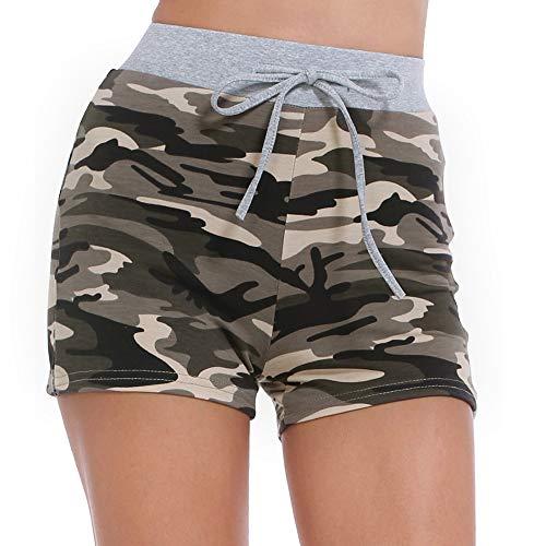 ZEALOTPOWER Camouflage-Shorts für Damen, elastischer Taillen-Tunnelzug, bequemes Lounge-Workout - - Groß -