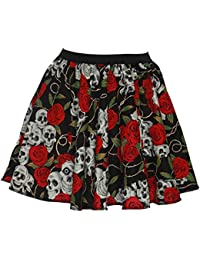 "Ladies 15"" Day Of The Dead Halloween Skulls & Roses Fancy Dress Skater Skirts"