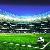 Forwall Fototapete Vliestapete Wanddeko Fußball Fußballstadion - 3D Tribüne Fussballfeld Kinderzimmer Moderne Wanddekoration Wandbild 1914VEXXL 312cm x 219cm