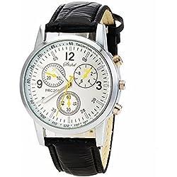 Ouku@Fahion Men Wrist Watch Watches PU Band Easy Read Quartz Movement Business Men's Sports watch Casual watches Cycling Analog wristwatch (Black)