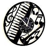 Horloge Murale en Vinyle Cadeau Fait Main Décorations Pour la Maison Home Office Guitare Basse Rock Metal Punk Musique Clavier