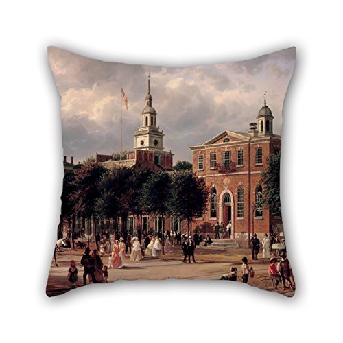 beautifulseason 16 X 16 Inches/40 by 40 cm Oil Painting Ferdinand Richardt - Independence Hall in Philadelphia Throw Pillow Case 2 Sides is Fit for Outdoor Girls Him Relatives Lounge Boy Friend