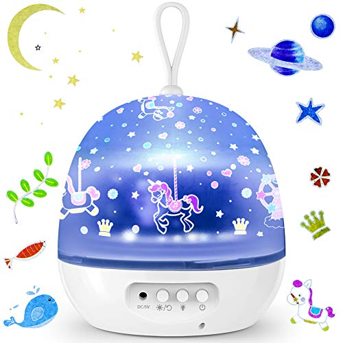Projektor Lampe, ZOTO 360°Drehbare Sternenhimmel Kinder Lampe, 8 Licht Modus Sterne Nachtlicht, Kinder, Geburtstag und Weihnachten Geschenk