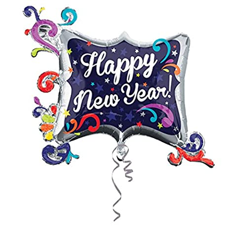 erdbeerloft - Silvesterdeko Folienballon Bunt Happy New Year 100cm ungefüllt, Mehrfarbig