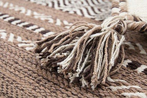 8 Gewebten Teppich (Teppich Handgewebt 100% Baumwolle Teppiche Flachflor Antik-Look Elfenbein , Größe:120cm x 170cm)