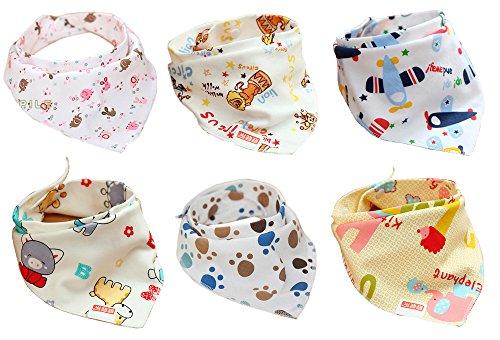 Jiexi® - Baberos tipo pañuelo con tiras ajustables, 100% de algodón, 32*43cm, diseño para niños, juego de 6 unidades